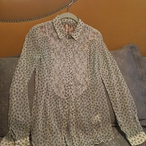 Free People Sheer blouse with lace detail